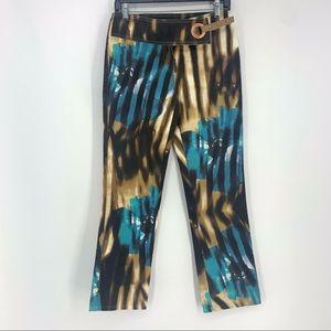Just Cavalli Floral Painted Belt Bootcut Pants